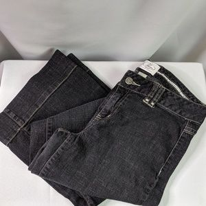 "WHBM Black Wide Leg Jeans EUC Size 4 Inseam 32"""